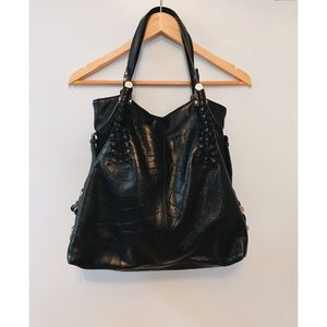 B Makowsky Black Leather Shoulder Bag Purse